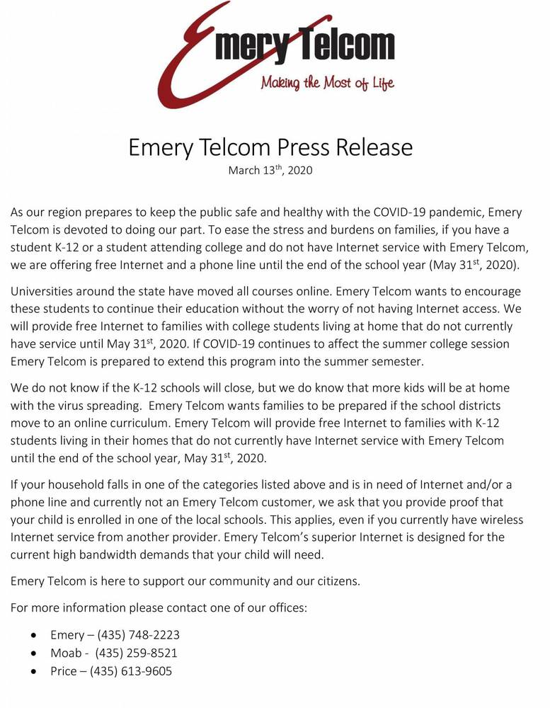 EMERY TELCOM PRESS RELEASE