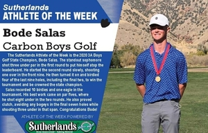 BODE SALAS NAMED SUTHERLANDS ATHLETE OF THE WEEK
