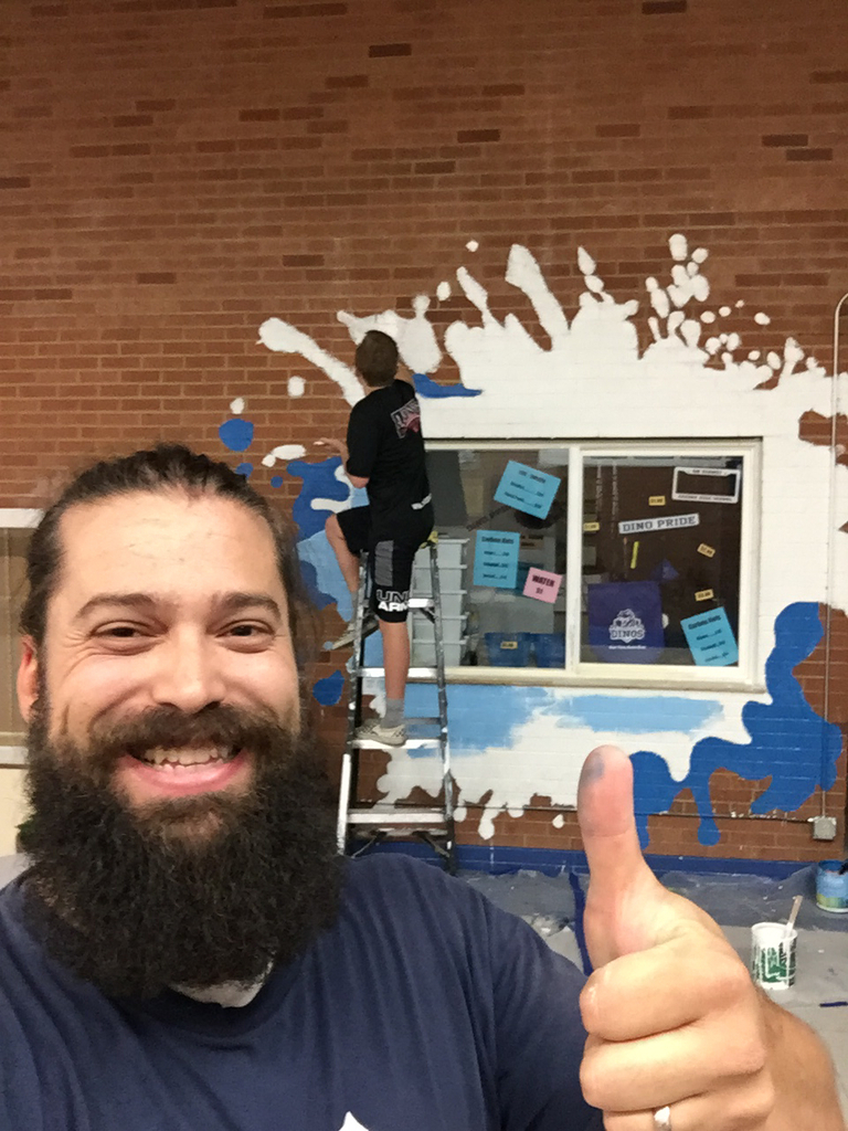 The School Store mural is going up! SPLAT!!!