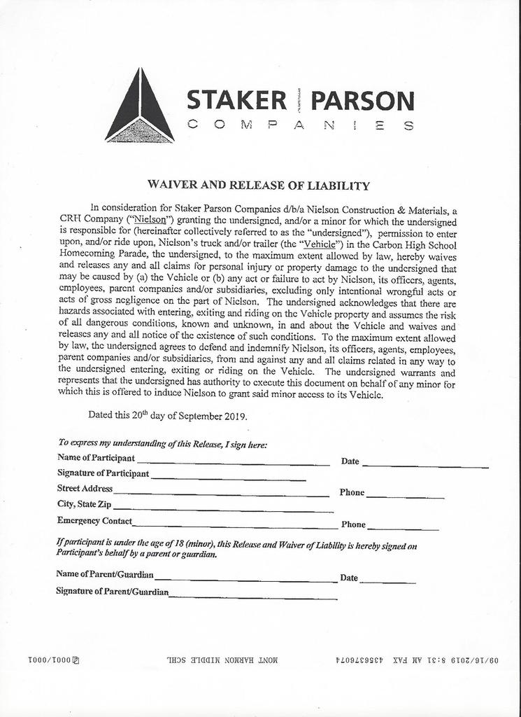 Staker Parsons Permission Form