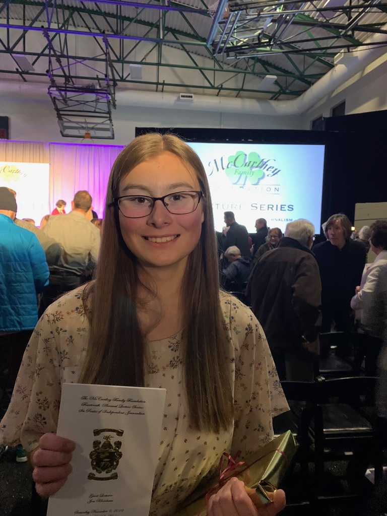 Hannah Ludington's writing was recognized at Rowland Hall School for the Utah High School Media Writing Competition on  November 9, 2019.
